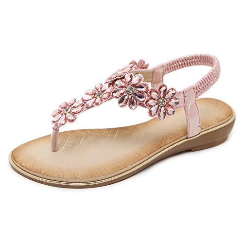 Damen Flache Sandalen Damen Thong Flache Sandalen Bohemian Perlen Strap Sandalen Strass Leder Sandalen, Pink - Rose - Größe: 38 EU - Stretch-band-sandale