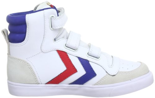 hummel STADIL JR LEATHER HIGH, Unisex-Kinder Hohe Sneakers Weiß (White/Blue/Red/Gum)