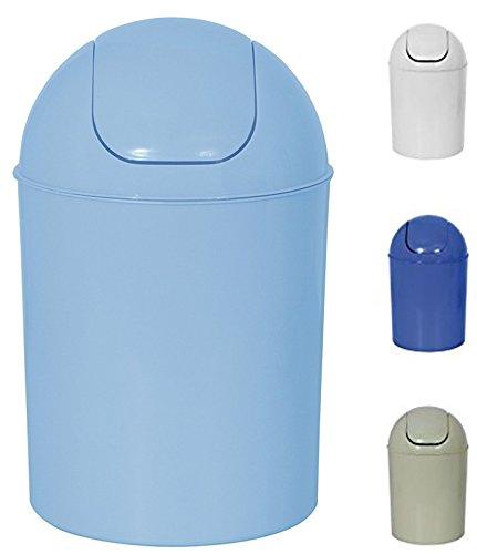 MSV Kosmetikeimer Abfalleimer Schwingdeckeleimer 7 Liter Kunststoff Hellblau
