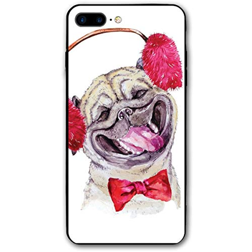 ZZHOO Compatible with iPhone 7/8 Plus Case, Watercolor Drawing of Dog with Furry Winter Headphones and A Bow Tie Happy Cute Animal,Rubber Anti-Scratch Shock Absorption Protective Phone Cover (Bulk Bow Red Ties)