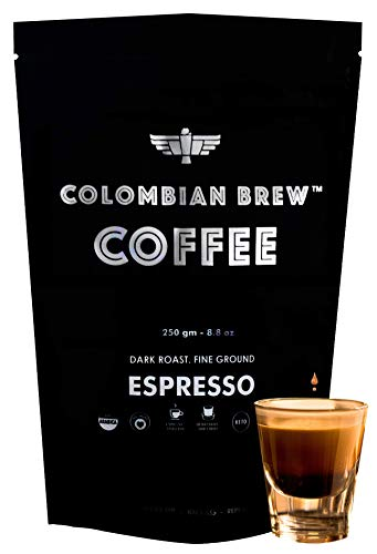 Colombian Brew Arabica Espresso Filter Coffee, Roast & Ground Strong, 250g