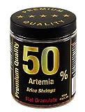 50% Artemia Flachgranulat Premium Qualität, Fischfutter Aquarienfische, Pflanzenproteine Vitamine Mineralien, Diskus Kampffische Barsche Welse, Alleinfuttermittel, Hauptfutter Süß-und Meerwasserfische