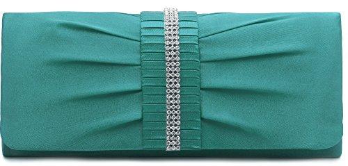 VINCENT PEREZ, Clutch, Abendtaschen, Umhängetaschen, Unterarmtaschen, Satin mit Raffung und Strasssteinen, abnehmbare Kette (120 cm), 24,5x10,5x4,5 cm (B x H x T), Farbe:Grün (Smaragd)