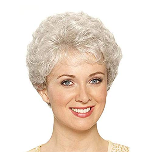 ken für mittlere und ältere Menschen Rosen-inneres Netz Kunsthaar für Kurzwellenmode, Silber natürliche lockige Perücke, Natürlich aussehend und hitzebeständig, 9 Zoll ()