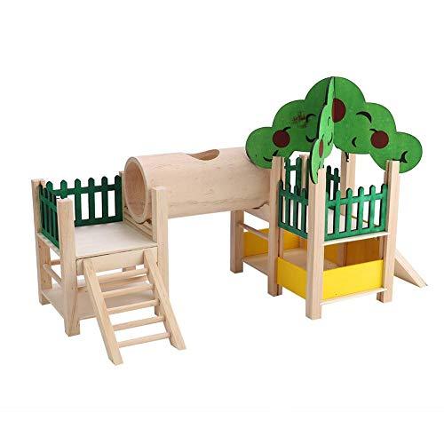 HEEPDD Hamster Tunnel Spielzeug, hölzerne syrische Hamster-Plattform Bauen einfach Rennmäuse-Brücke sicher zusammen, um goldenes Bären-Rohr-Spielzeug zu kauen -