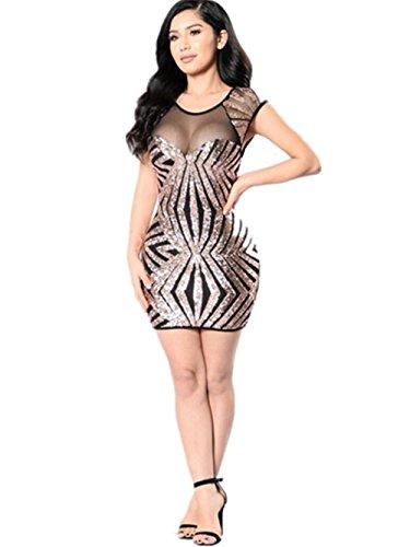 HYHAN moda vestito sexy paillettes filato maglia geometrica nel lungo