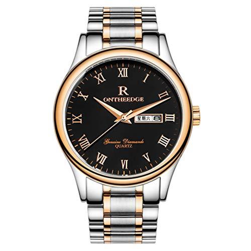 Ssq-cxo orologio impermeabile da uomo, orologio da polso multifunzione con display puntatore rotondo in lega quadrante in acciaio inossidabile cinturino nero orologio al quarzo rosa