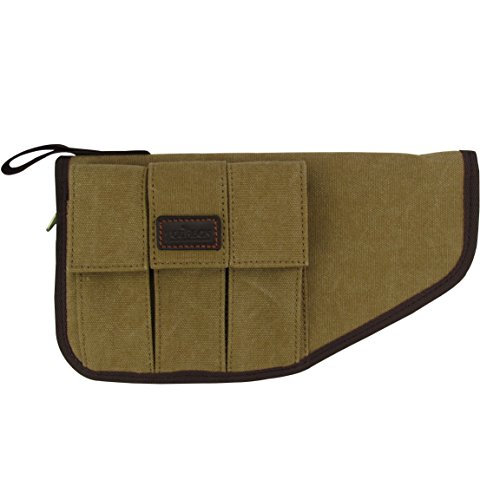 tourbon Leinwand Weich Gepolstert Pistole Pistolen Tasche Tactical Tragetasche äußeren mit drei Zeitschriften Tasche (Airsoft-zeitschriften-halter)