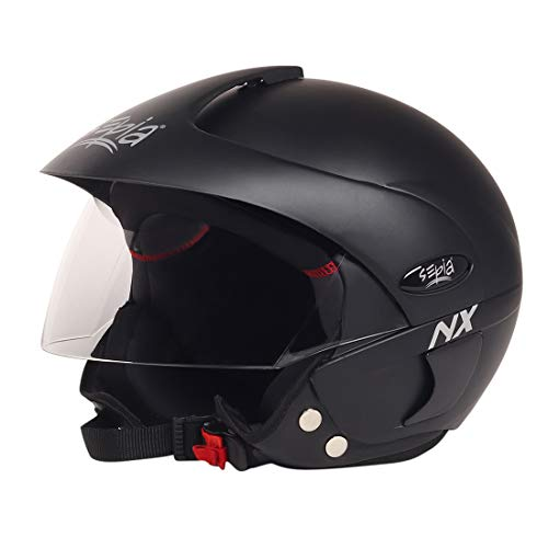 Sepia NX Rider Open Face Helmet with Peak (Matt Black, M to L) ISI Approved