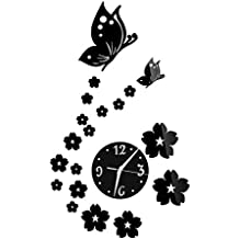 De flores y mariposas 3D espejo reloj de pared adhesivo DIY Home Winnie