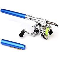 SeniorMar Mini bolígrafo portátil Tipo caña de Pescar caña de Pescar telescópica con Carrete de Pesca al Aire Libre Accesorios de Aparejos de Pesca - Azul