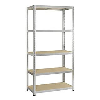 Avasco Strong 175 Metal/Wood Adjustable Shelving Unit with 5 Shelves, 176 x 90 x 40 cm