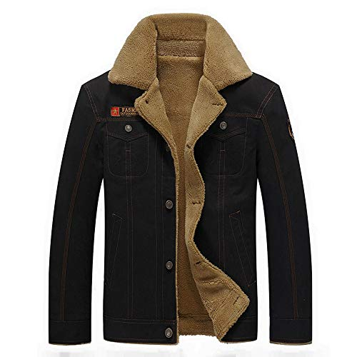 Mymyguoe Jacke Mode Herren Übergangsjacke Herbst Winter warm Lässiger Pocket Button Thermal Jacket Freizeitjacke Outwear Baumwolle Mantel...