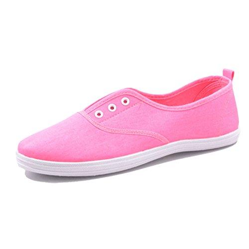 Jumex Damen Low Top Turnschuhe Sommer Sneaker Textil Pink