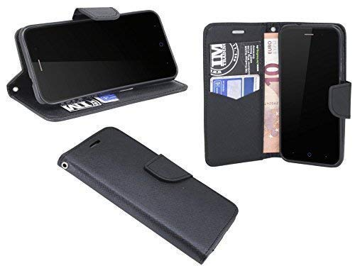 ENERGMiX Buchtasche Hülle kompatibel mit ZTE Blade L6 Case Tasche Wallet BookStyle mit Standfunktion in Schwarz