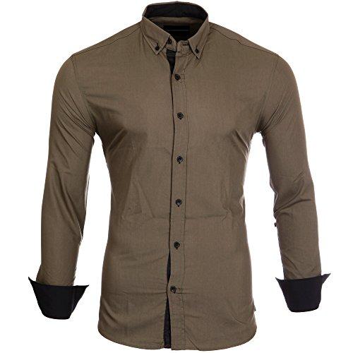 Reslad Herren-Hemd Kontrast Look Button-Down-Kragen Langarm-Hemd RS-7055 Khaki-Schwarz