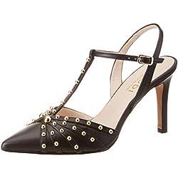 lodi RANCEL, Zapatos con Tacon y Correa de Tobillo para Mujer, Miko Negro, 37 EU