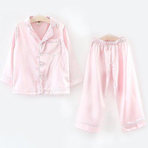 zooarts für 2–7Jahre Kinder Mädchen Jungen Seide Satin Pyjama Set Langarm Nachtwäsche Tops + Hose Outfit Kinder Kleidung SET, Baumwollmischung, rose, 140(6-7T) (Top Seide Rose)