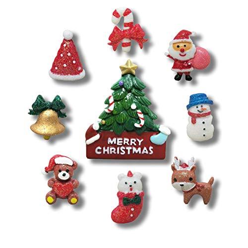 9 Stück Kreative Weihnachts-Kühlschrankmagnete Geschenke Weihnachten Zuhause Dekoration Kinder Kühlschrankmagnet - perfekte Magnete für Whiteboard, Kühlschrank, Karte und Kalender