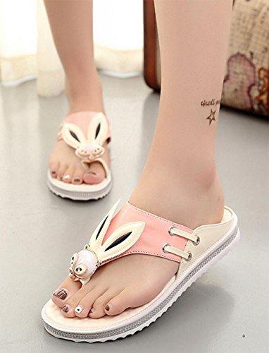 flip flops pantoufles d'été à plat doux sauvages diamant femme chaussures antidérapantes Pink