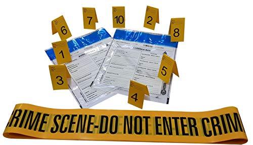 Kobe1 6m Crime Scene Absperrband Do Not Enter (x1),Beweis Tasche (x2),Foto Beweis Rahmen (1 bis 10), (7cm x 4cm Karten).