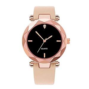 Carrymee Damen Uhren Schöne Glaslinse Watch Elegant Zifferblatt Schwarz Armbanduhr Mode Lässig Legierung Gehäuse Uhr Hohe Qualität Leder Armband Damenuhr Geschenk für Frauen