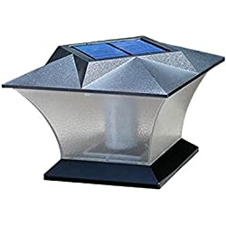 MOGOI Solar-Säule Lampe, 18 LEDs, superhell, für Pfosten, Deck, Wasserdichte Zaunlampe mit Schrauben für Außen, Terrasse, Hof, Deck, Rasen, Hinterhof, Landschaft, Garten, Weg Weißes Licht