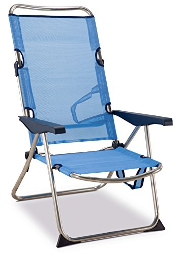 Solenny Silla plegable de playa de aluminio, respaldo alto, 4 posiciones y asas para el transporte, tejido textiline transpirable en color azul