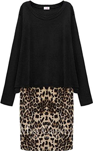 ADS da donna leopardato orlo tinta unita loose Blusa Lunga Felpa ASIA dimensioni Black