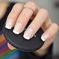 EchiQ - uñas postizas acrílicas de color blanco natural con punta de uñas postizas UV para