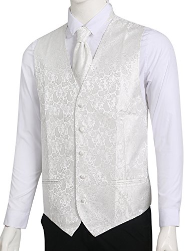 Creme-kamera-tasche (LL L & L Herren Weste mit Paisley-Muster Weste und Krawatte Einstecktuch Set für Anzug - UK Weihnachten - Creme, Chest 42'' XXL)