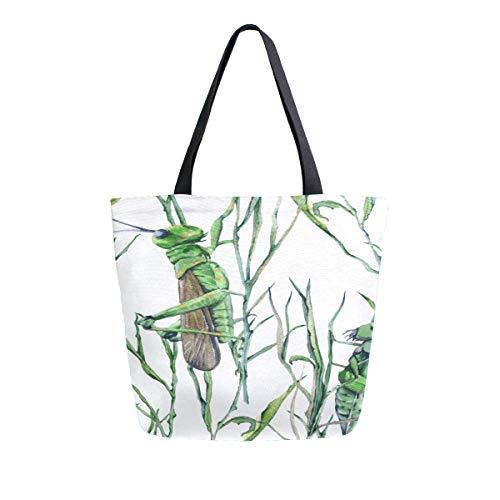 Heuschrecke lebendige Cartoon Muster tragbare doppelseitige beiläufige Leinwand Tragetaschen Handtasche Schulter wiederverwendbare Einkaufstaschen Seesack Geldbörse Männer Lebensmittelgeschäftn -