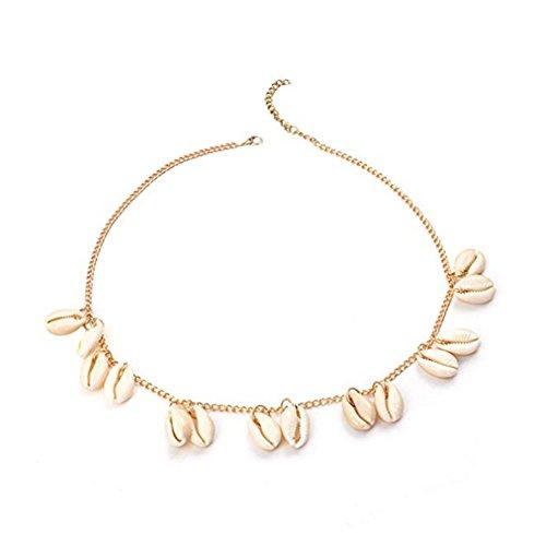 WDILO 1 pieza de collar de concha bohemio pulseras ajustables cadena joyería accesorios para vacaciones 51-56cm dorado