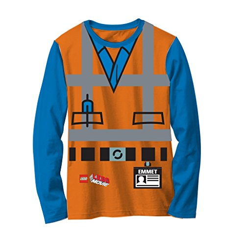 Lego Movie Emmet Orange Jungen LONG SLEEVE Kostüm T-Hemd (7) (7 Awesome Halloween Kostüme)