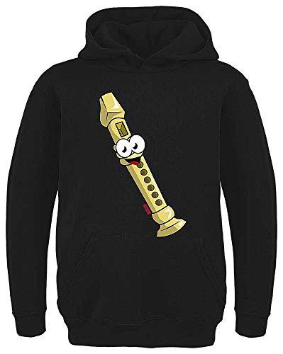 HARIZ Kinder Hoodie Flöte Lachend Instrument Kind Lustig Plus Geschenkkarte Schwarz 128/7-8 Jahre (Flöte Instrument Kostüm)