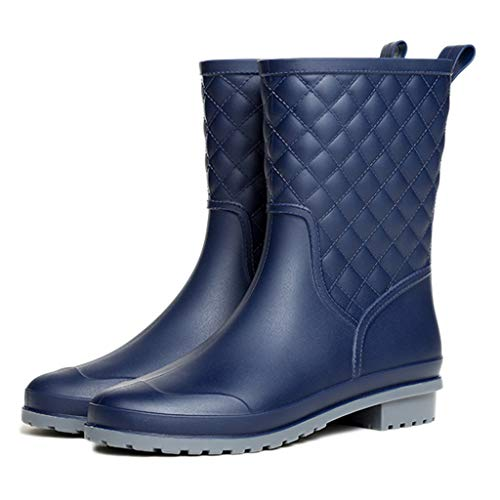 nihiug Rain boots wellies for Wet Weather Waterproof Rain Shoes Easy Clean travelling Fashion plaid casual rubber shoes adult rain boots