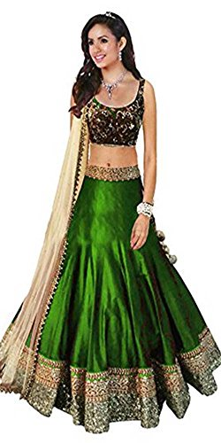 Arawins-Womens-Clothing-Low-Price-Festive-Sale-Offer-Party-Wear-Collection-Green-Color-Silk-Free-Size-Lehenga-Choli