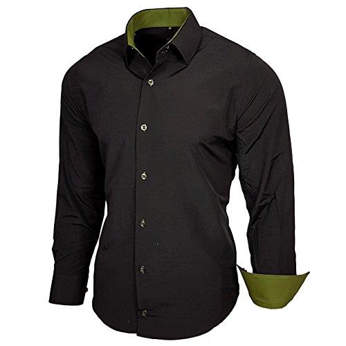 Baxboy Kontrast Herren Slim Fit Hemden Business Freizeit Langarm Hemd RN-44-2 Schwarz / Khaki