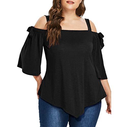 YWLINK Mode Damen Plus Size Retro Off Schulter Freizeit Asymmetrisch Bogen Bluse Volltonfarbe Elegant Top Klassisch T Shirt(XXXL,Schwarz) -