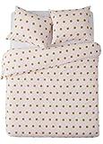Aminata-Home – Elegante Bettwäsche 135x200 cm Punkte gepunktet Baumwolle + Reißverschluss Rosa Goldfarben Bettbezug Pünktchen Kreise Muster Motiv Weiß Bettwäscheset Normalbettgröße Ganzjahr