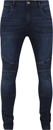 Urban Classics TB1436 Herren und Jungen Jeanshose Slim Fit Biker Jeans, Five-Pocket Stretch Biker Hose im Used Look Blau (darkblue 800)