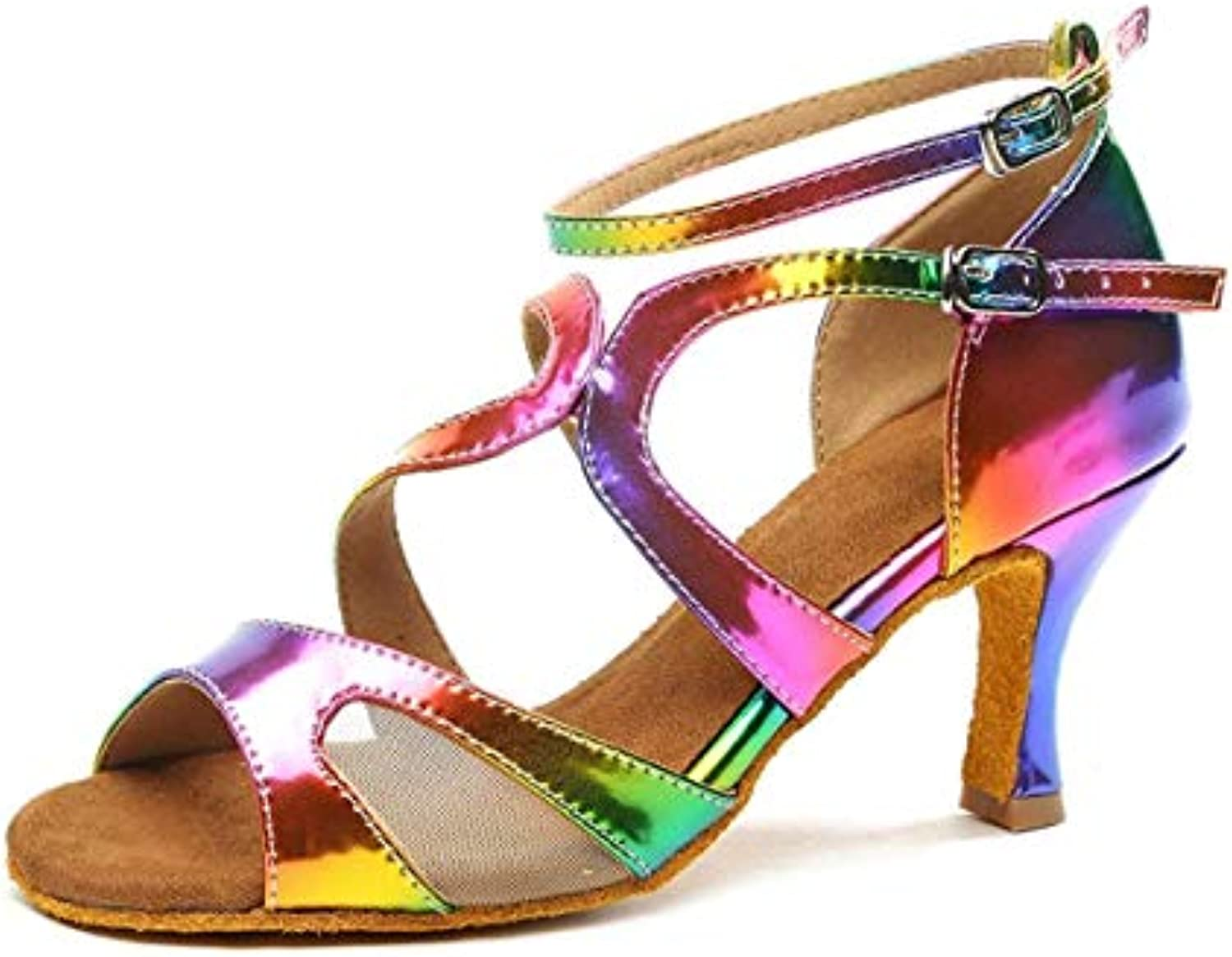 Qiusa GL249 Ladies Ankle Strap Strap Strap Moda Sintetica Scarpe da Ballo Coloreeful Party Prom Sandali UK 6 (Coloreee   -, Dimensione... | Il Prezzo Ragionevole