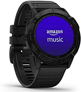 Garmin Fenix 6X Pro, ultimate multi-sport GPS watch, feature mapping, music, stepless speed monitoring and pulsox sensors, black with black band