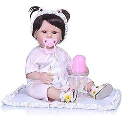 Reborn Baby Doll Bébé Reborn En Silicone Lavable Poupée Réaliste 40cm, Poupée Avec Vêtements+sucette+biberon+coussin+accessoires Cheveux+chaussures. Nouveau-Né Jouet Réalité Fille Cadeau De Noël