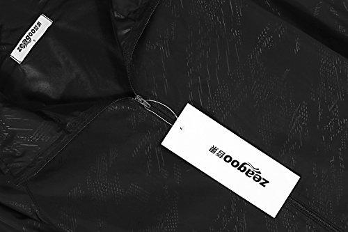 Zeagoo Damen Lightweight Softhelljacke Windjacke Regenjacke Outdoor Übergangsjacke Hoodie Kapuzenjacke Jacket Atmungsaktiv Schwarz
