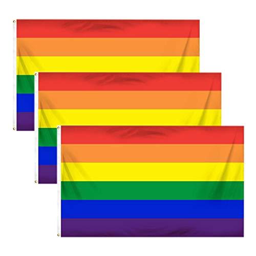 Bandera del orgullo gay, 3 banderas de arcoíris con la bandera de la