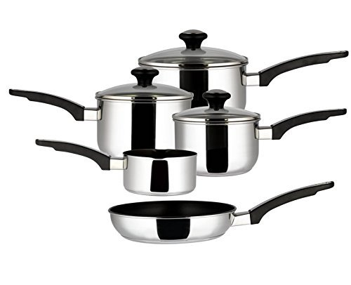 Prestige Everyday Stainless Steel Cookware Set, 5-Piece - Silver