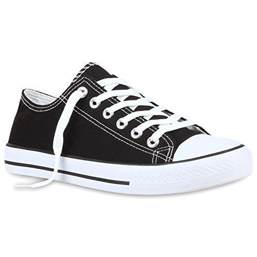 Stiefelparadies Damen Sneakers Low-Top Basic Turn Freizeit Schuhe 115725 Schwarz Weiss 44 Flandell