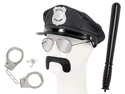 Set di Travestimento da Poliziotto | Nero | KV-128 | 5 Pezzi | Cappello, Occhiali da Sole, Baffi, Manette con Chiavi, Manganello | per Carnevale | Halloween | Festa a Tema | Adulti | Uomo | Donna