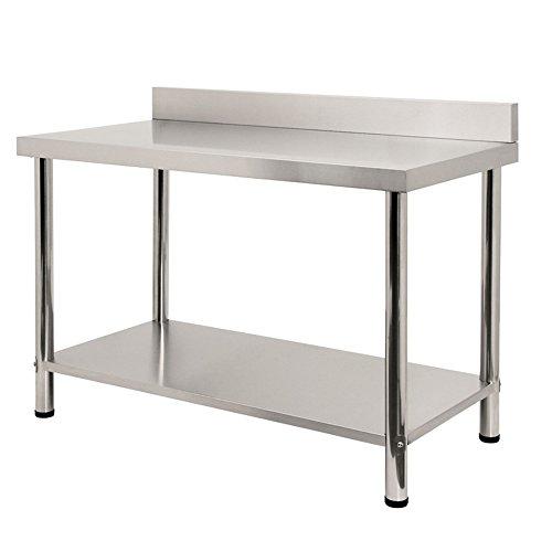 HENGMEI Edelstahl Tisch Küchentisch Arbeitstisch Edelstahltisch höhenverstellbar für Küche Bar Restaurant, Silber, 120x60x85cm mit Aufkantung
